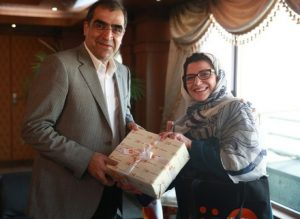 Dr. Leila Joudane, UNFPA Representative in the IRI meeting H.E. Dr. Hassan Ghazizadeh Hashemi, the Minister of Health and Medical Education