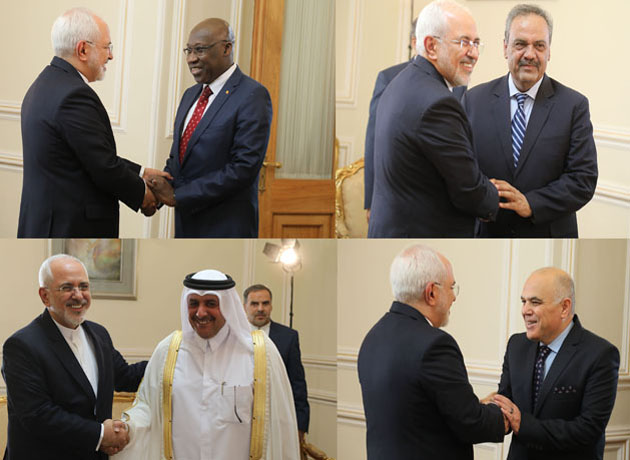 Pakistan, Senegal,Tunisia and Qatar ambassadors bid farewell to Foreign Minister Zarif
