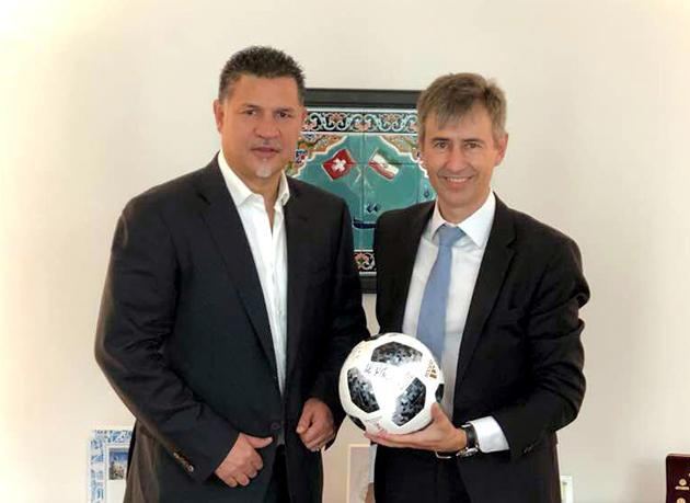 دیدار سفیر سوئیس در ایران با علی دایی